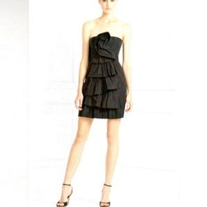 BCBGMaxAzria Rosette Tiered Strapless Party Dress